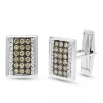 1.13ct 14k White Gold White & Champagne Diamond Cuff Links