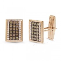 1.13ct 14k Rose Gold White & Champagne Diamond Cuff Links