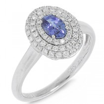 0.36ct Diamond & 0.55ct Blue Sapphire 14k White Gold Ring