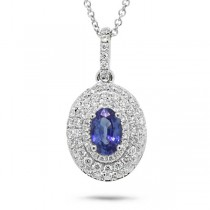0.38ct Diamond & 0.54ct Blue Sapphire 14k White Gold Pendant Necklace