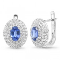 0.70ct Diamond & 1.04ct Blue Sapphire 14k White Gold Earrings