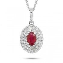0.38ct Diamond & 0.50ct Ruby 14k White Gold Pendant Necklace