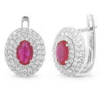 0.70ct Diamond & 0.89ct Ruby 14k White Gold Earrings