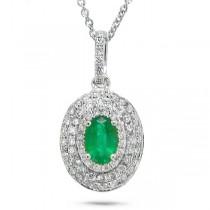 0.38ct Diamond & 0.38ct Emerald 14k White Gold Pendant Necklace