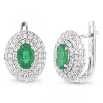 0.70ct Diamond & 0.73ct Emerald 14k White Gold Earrings