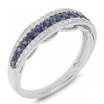 0.21ct Diamond & 0.37ct Blue Sapphire 14k White Gold Ring