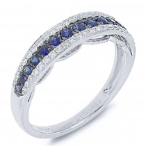 0.21ct Diamond & 0.37ct Blue Sapphire 14k White Gold Ring Size 6