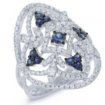 1.10ct Diamond & 0.63ct Blue Sapphire 14k White Gold Ring