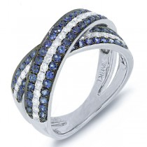 0.43ct Diamond & 1.00ct Blue Sapphire 14k White Gold Bridge Ring