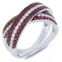 0.43ct Diamond & 0.96ct Ruby 14k White Gold Bridge Ring