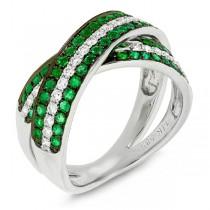 0.43ct Diamond & 0.82ct Emerald 14k White Gold Bridge Ring