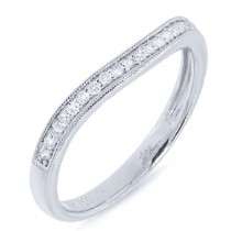 0.15ct 18k White Gold Diamond Lady's Curved Band
