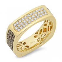 0.94ct 14k Yellow Gold White & Champagne Diamond Men's Ring