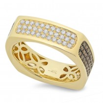 0.94ct 14k Yellow Gold White & Champagne Diamond Men's Ring Size 9