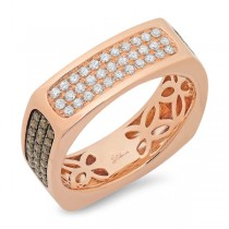 0.94ct 14k Rose Gold White & Champagne Diamond Men's Ring