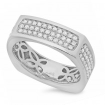 0.94ct 14k White Gold Diamond Men's Ring Size 9