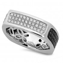 0.94ct 14k White Gold Black & White Diamond Men's Ring Size 11