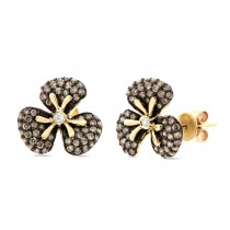 0.95ct 14k Yellow Gold White & Champagne Diamond Flower Earrings
