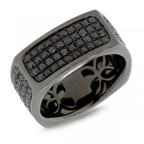 1.62ct 14k Black Rhodium Gold Black Diamond Men's Ring