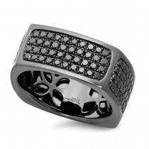 1.62ct 14k Black Rhodium Gold Black Diamond Men's Ring Size 11