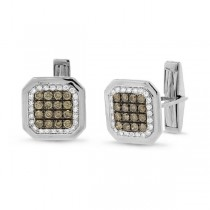 1.67ct 14k White Gold White & Champagne Diamond Cuff Links