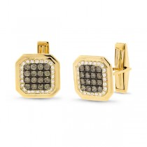 1.67ct 14k Yellow Gold White & Champagne Diamond Cuff Links