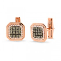 1.67ct 14k Rose Gold White & Champagne Diamond Cuff Links