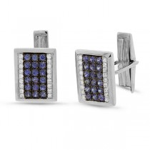 0.31ct Diamond 1.03ct Blue Sapphire 14k White Gold Cuff Links