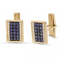 0.31ct Diamond 1.03ct Blue Sapphire 14k Yellow Gold Cuff Links