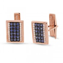 0.31ct Diamond 1.03ct Blue Sapphire 14k Rose Gold Cuff Links