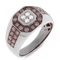 1.18ct 14k White Gold White & Champagne Diamond Men's Ring
