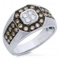 1.18ct 14k White Gold White & Champagne Diamond Men's Ring Size 9
