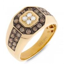 1.18ct 14k Yellow Gold White & Champagne Diamond Men's Ring