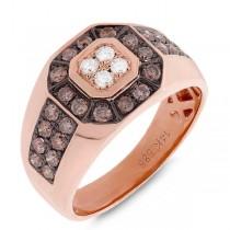 1.18ct 14k Rose Gold White & Champagne Diamond Men's Ring