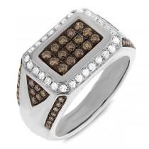 1.02ct 14k White Gold White & Champagne Diamond Men's Ring
