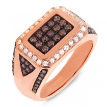 1.02ct 14k Rose Gold White & Champagne Diamond Men's Ring