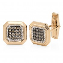 1.08ct 14k Yellow Gold White & Champagne Diamond Cuff Links