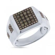 0.74ct 14k White Gold Champagne Diamond Men's Ring
