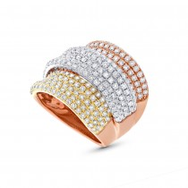 2.66ct 14k Three-tone Gold Diamond Lady's Ring