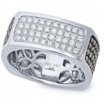 1.78ct 14k White Gold White & Champagne Diamond Men's Ring