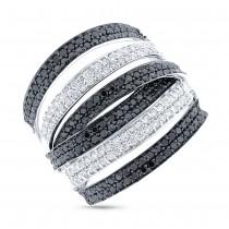 1.65ct 14k White Gold Black & White Diamond Lady's Ring