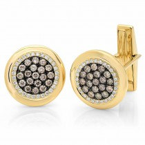 1.00ct 14k Yellow Gold White & Champagne Diamond Cuff Links