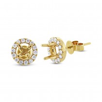 0.43ct 14k Yellow Gold Diamond Semi-mount Earrings