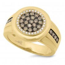0.76ct 14k Yellow Gold White & Champagne Diamond Men's Ring