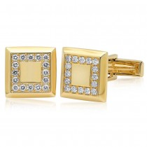 0.82ct 14k Yellow Gold Diamond Cuff Links