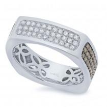 0.94ct 14k White Gold White & Champagne Diamond Men's Ring