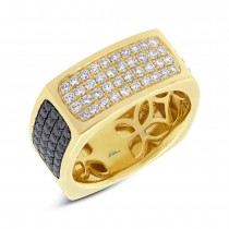 1.78ct 14k Yellow Gold Black & White Diamond Men's Ring