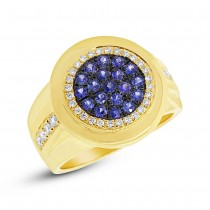 0.32ct Diamond & 0.53ct Blue Sapphire 14k Yellow Gold Men's Ring Size 7