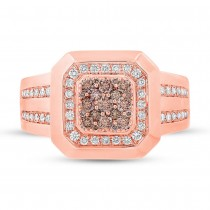 0.86ct 14k Rose Gold White & Champagne Diamond Men's Ring