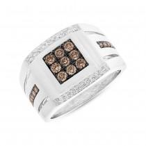0.82ct 14k White Gold Champagne Diamond Men's Ring